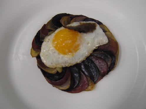 Byaldi with quail egg and truffle shaving