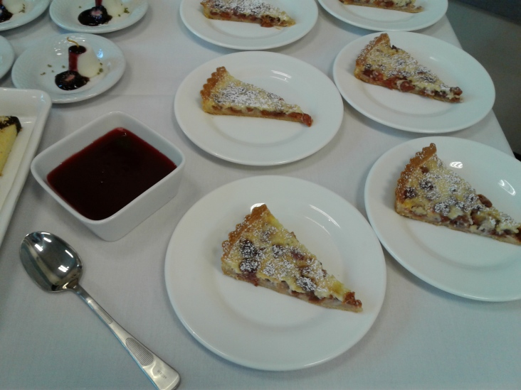 Cherry claufotis with cherry sauce