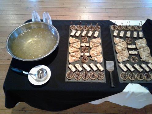 Chocolate ganache tarts and pear Gorgonzola tarts