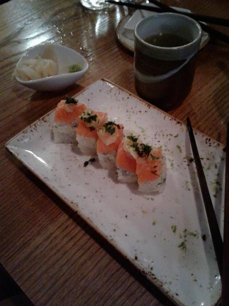 Salmon Sushi, almost half eaten